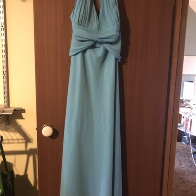 Blue Open Back Formal Dress
