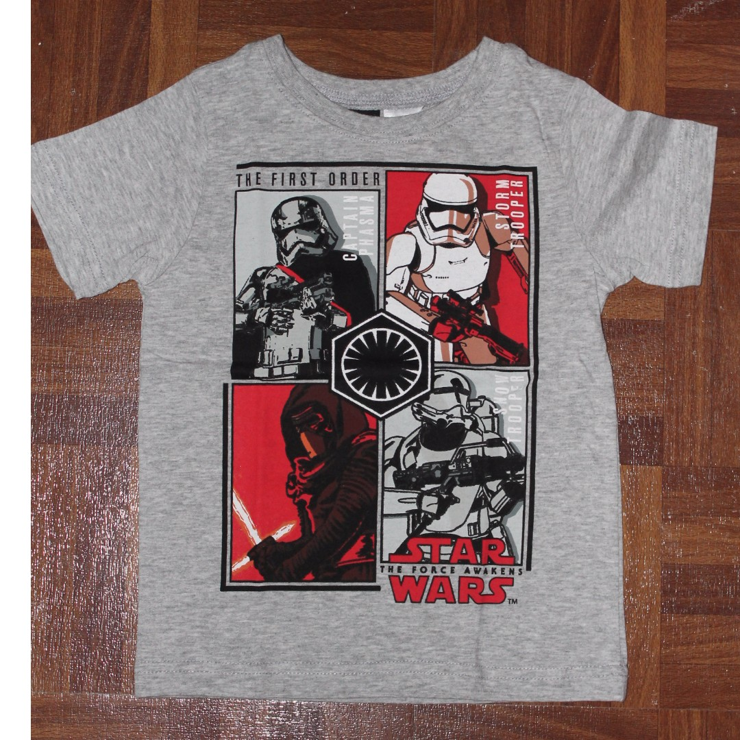 Boys Starwars T Shirt Grey