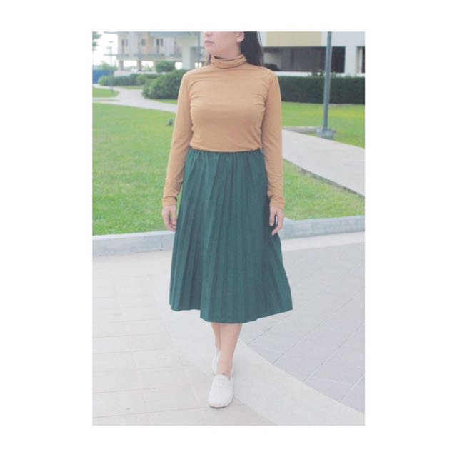 Brown Turtle Neck & Green Pleated Skirt