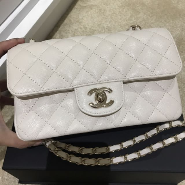 3ef8f5a36cadc4 Chanel Mini Classic White Caviar Ghw, Luxury, Bags & Wallets on Carousell