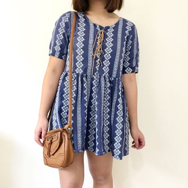 Cocolàtte Navy Blue Dress w/ white embroidered patterns