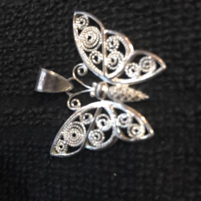 Cute Sterling Silver Butterfly Pendant
