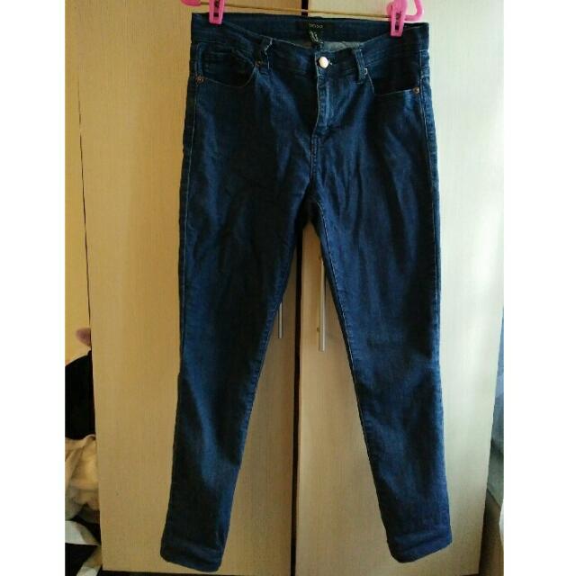 F21深藍合身牛仔褲 27~28腰