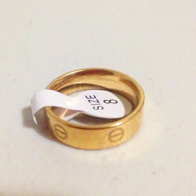 Gold Cartier style Kylie Jenner love ring