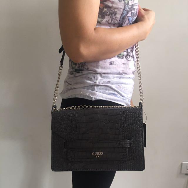 GUESS Long Strap Bag - Black