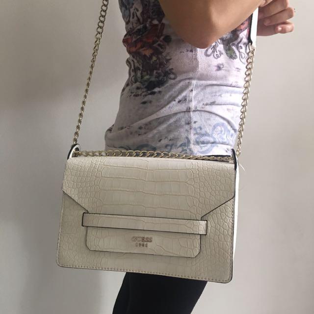 GUESS Long Strap Bag - White