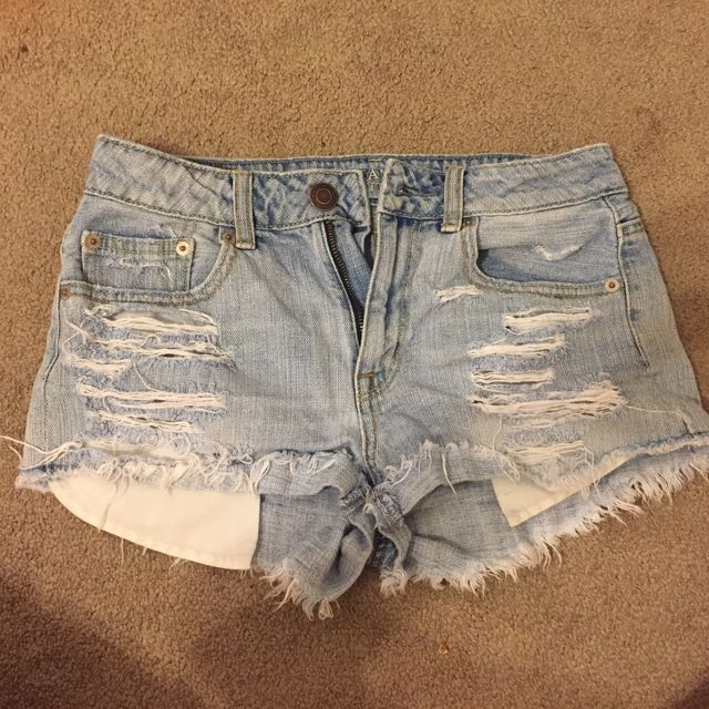 High Waisted Distressed Shorts (size 0)