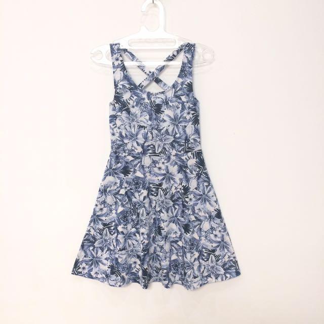 H&M Blue Floral Crossback Casual Dress (100% ORI)