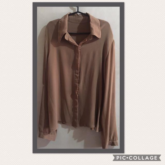 Korean Sheer Long Sleeves (Brown)