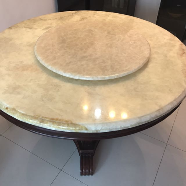 Marble Top Dining Table With Turntable, Home U0026 Furniture, Furniture, Tables  U0026 Chairs On Carousell