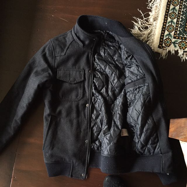 Men's Black Lined Black Jacket Size Small