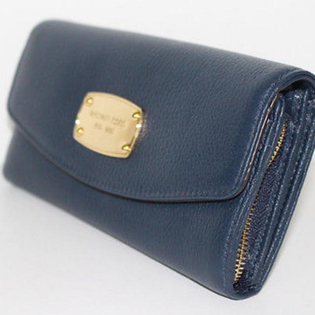 fe9d01914f8997 Michael Kors Jet Set Slim Flap Wallet In Navy Brand New Pebbled ...
