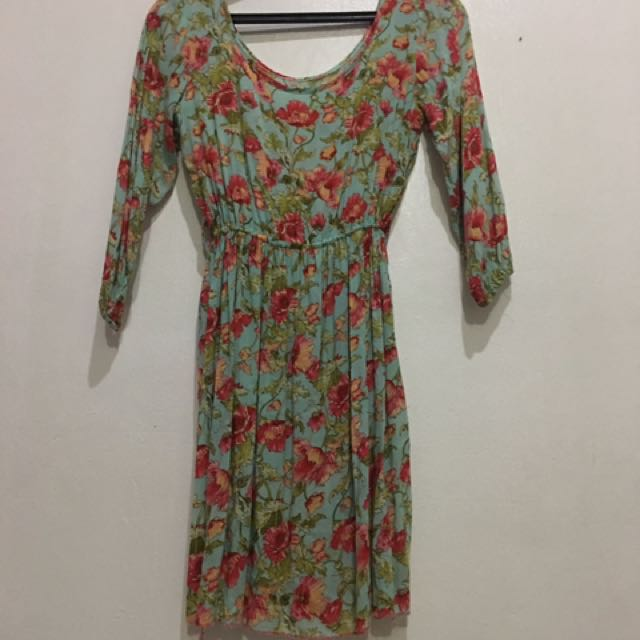 Mint Green Flower Printed Dress