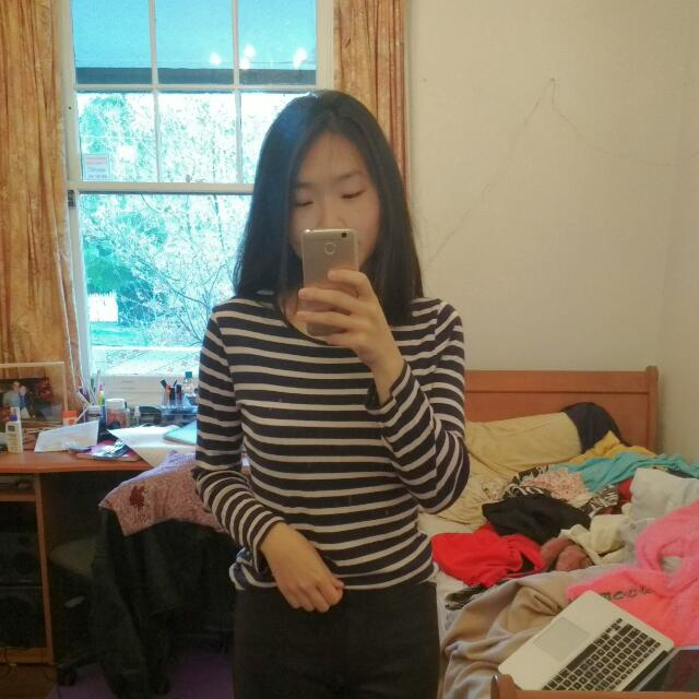 M&S Stripy Navy And Pink Long Sleeved Top