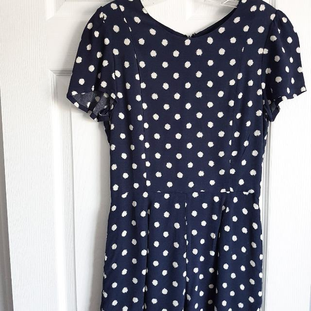 Navy Blue Dotted Romper