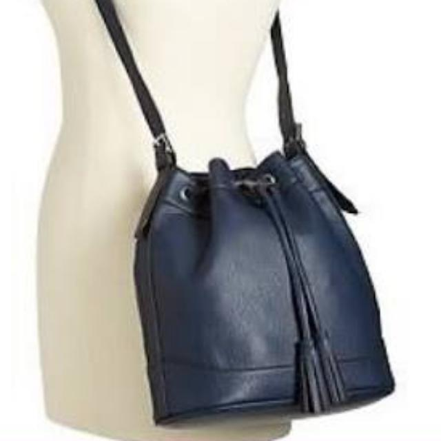 Navy Bucket Bag Shoulder Seude faux leather adjustable buckled straps Bucket shape New With Tags