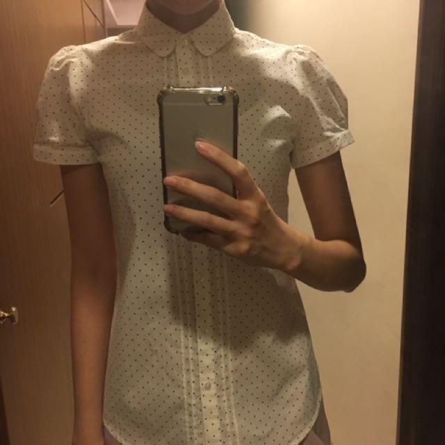 Net 水玉點點 白色小圓領襯衫