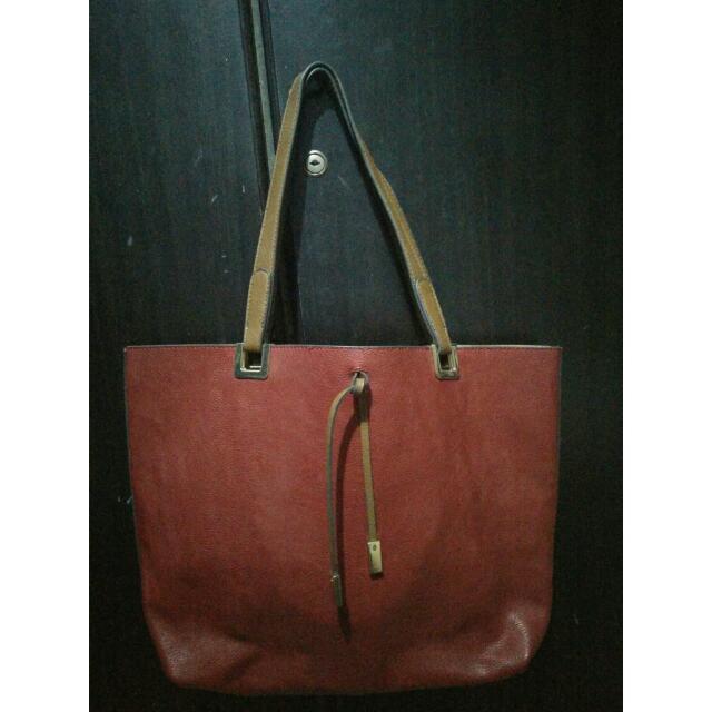 Parfois Reversible Red\Cream Tote Bag