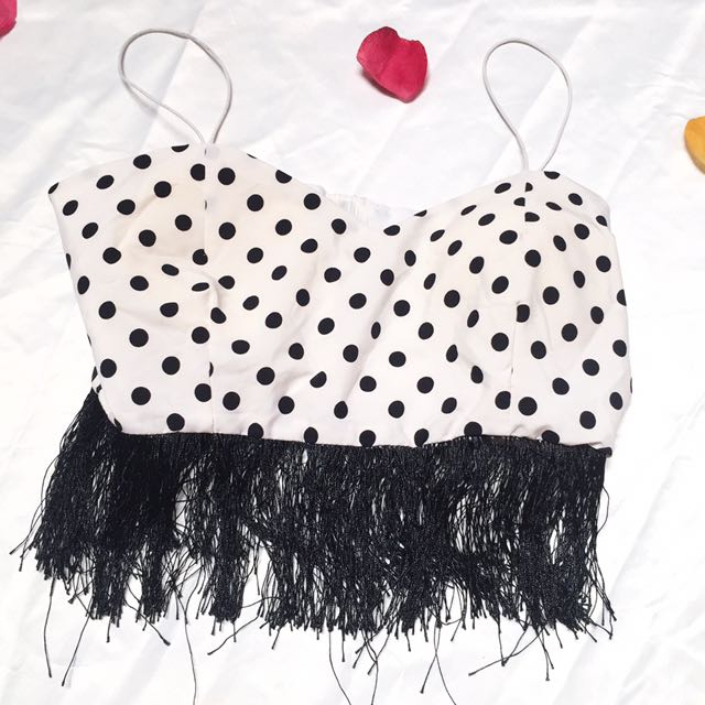 Polkadot White Tank Crop Top / Atasan Minnie Mouse White And Black Seksi / Atasan Polkadot Sexy