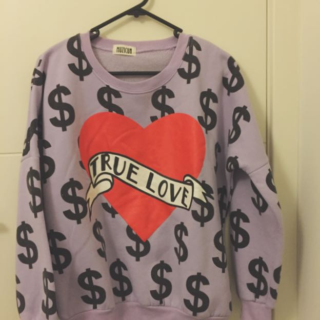 Purple With Heart And Dollar Sign Sweater