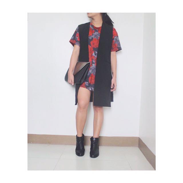Red Roses Top & Black Long Vest