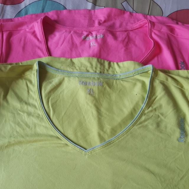 Baju Gym Female Reebok Tee Uk XL - BUNDLE 2 pieces  PINK & YELLOW ORIGINAL