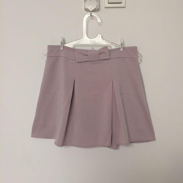 Rok Celana Skort dengan Pita Abu Lilac Celana Short Pendek