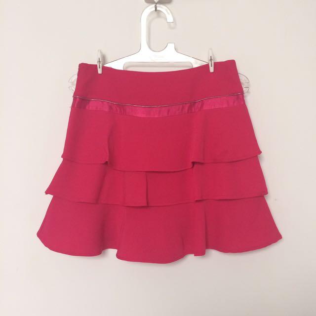 Rok Tingkat Pink Fuchsia Flare Skirt Layared Skirt