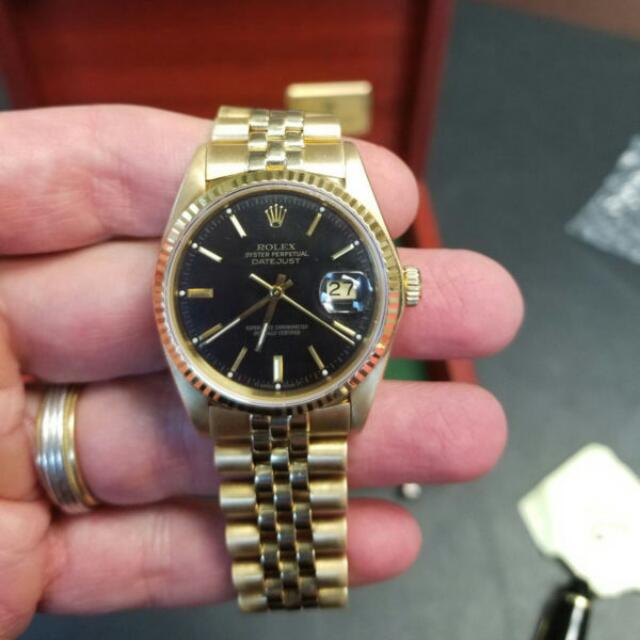 128d26fa19b8 Rolex Datejust Solid 18k Gold Mens Watch 36mm Vintage with Jubilee ...