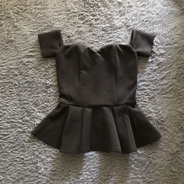 Sabrina Black Peplum Top