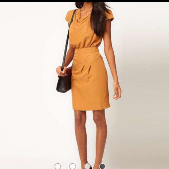 Size 10 ASOS Mustard Work Dress With Tie Back Detail