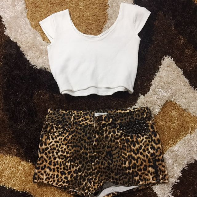 Slim crop top white