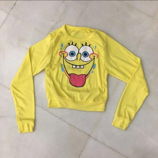 Sponge Bob Yellow Sweater Top Long Sleeve