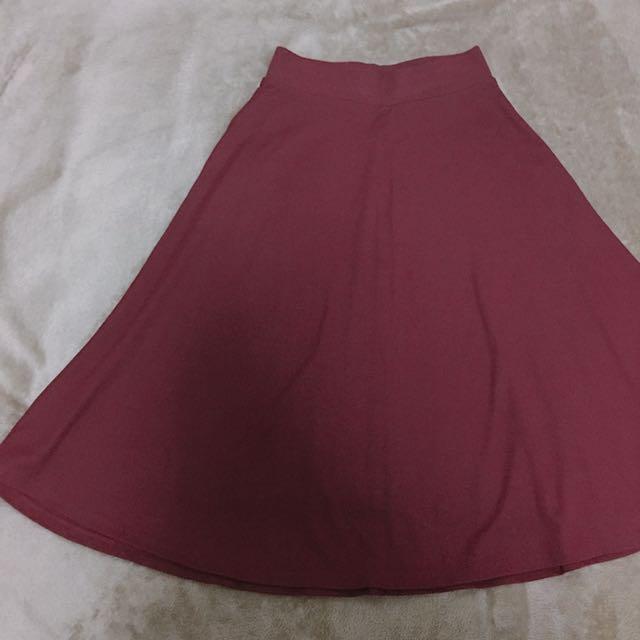 Stradivarius Maroon Long Skirt