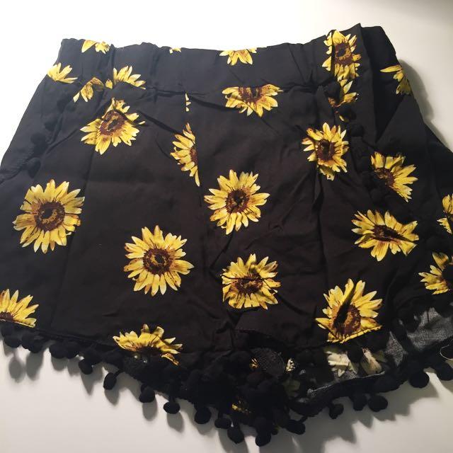 Sunflowers Pom Pom Shorts