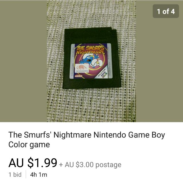 The Smurfs' Nightmare Game boy Cartridge