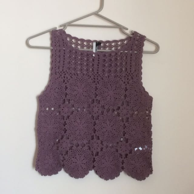 Topshop Purple Crochet Overlay