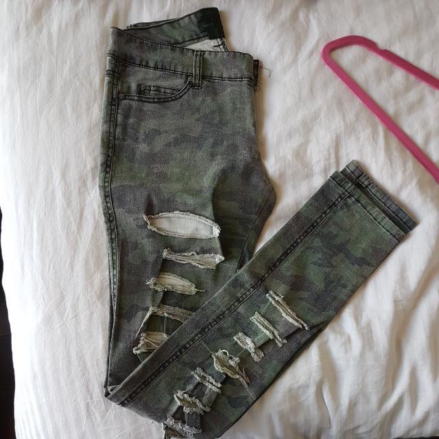 Tripp NYC Army Print Distressed Jeans