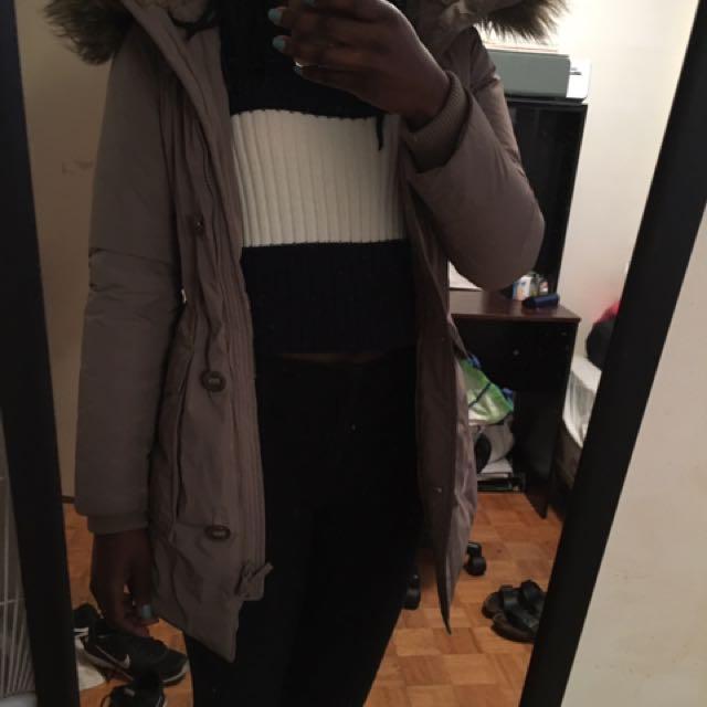 Uniqlo Beige Parka/ Winter Coat