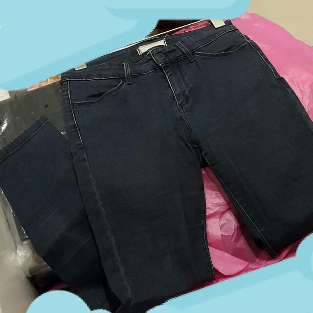 UNIQUE 深藍色彈性合身牛仔褲