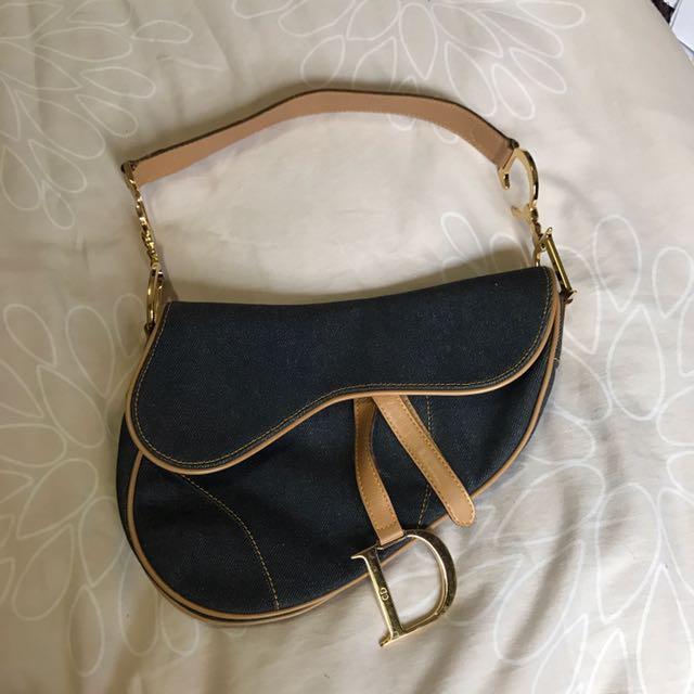 387b8abae9ca Vintage Christian Dior Denim Saddle Bag