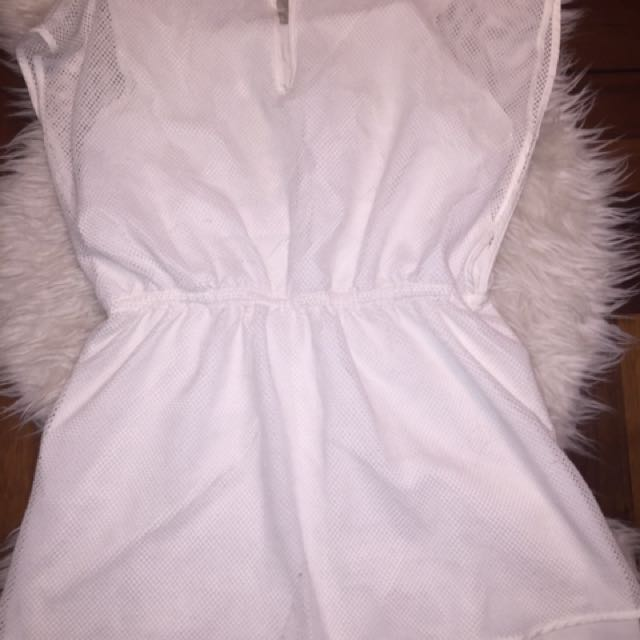 White Romper With Mesh