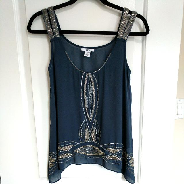 XS Sheer Sequined Flowy Top