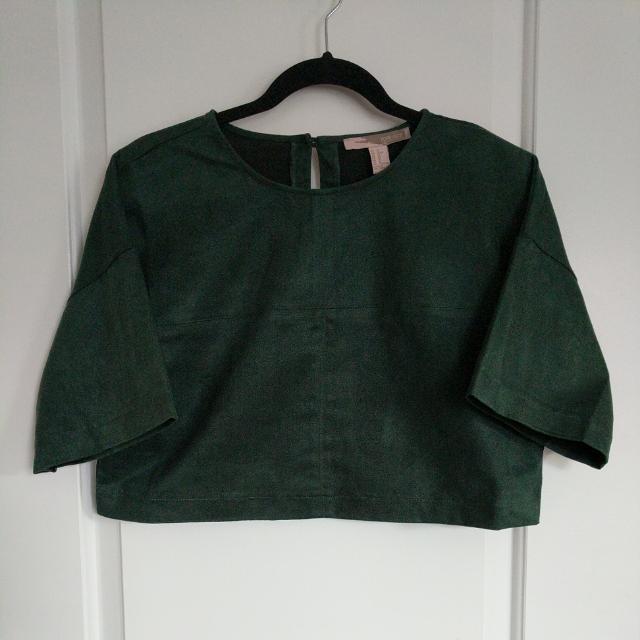 XS Suede Green Crop Top