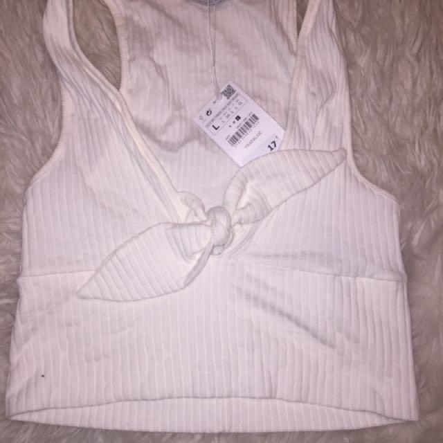 Zara White Bow Crop Top