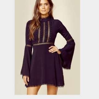 Instock Bell Hand Dress , Navy Blue Dress , Lace Dress ,