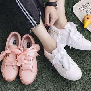 🚚 Summer! 四季可穿 皮質 緞帶鞋帶 兩種鞋帶 厚底休閒鞋