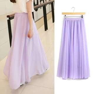 「全新」夏日必備 仙氣飄飄淺紫珍珠雪紡半身長裙