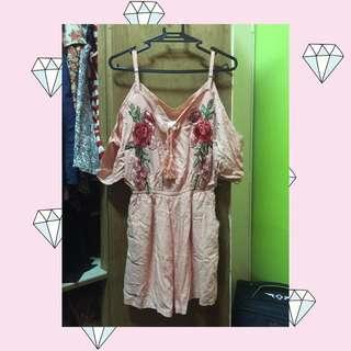 Baby pink off shoulder jumpsuit & White floral Romper