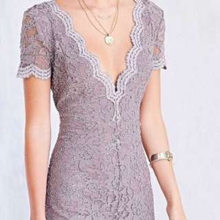 Low Cut V-Neck Lace Formal Dress